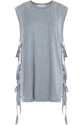HELMUT LANG Strap-detailed cotton and cashmere-blend slub T-shirt