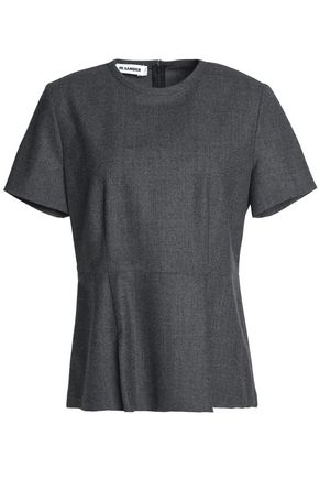 JIL SANDER Gathered virgin wool-blend peplum top