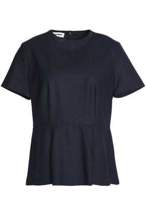 JIL SANDER Pleated virgin wool-blend peplum top