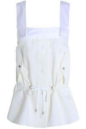 HELMUT LANG Tie-front cotton and silk-blend piqué top