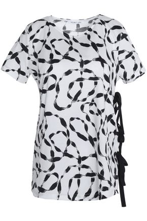 HELMUT LANG Lace-up printed cotton-jersey T-shirt