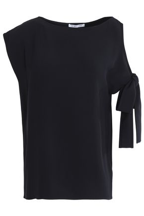 HELMUT LANG Bow-embellished cutout crepe top