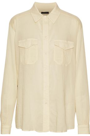 BELSTAFF Cotton and silk-blend seersucker shirt