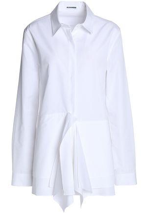 JIL SANDER Pleated cotton-poplin shirt