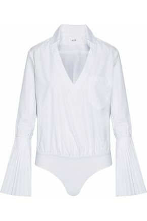 ALIX Pleated cotton-poplin bodysuit
