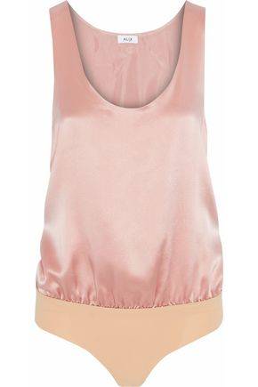 ALIX Silk-satin and stretch-jersey bodysuit