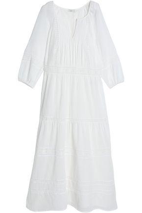 JOIE Crochet-trimmed pintucked cotton-gauze maxi dress