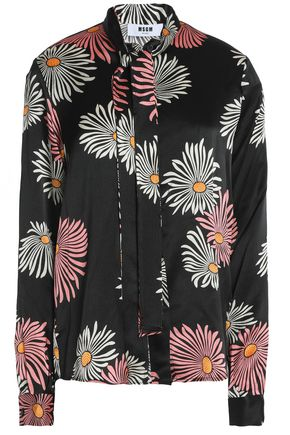 MSGM Pussy-bow floral-print silk crepe de chine blouse