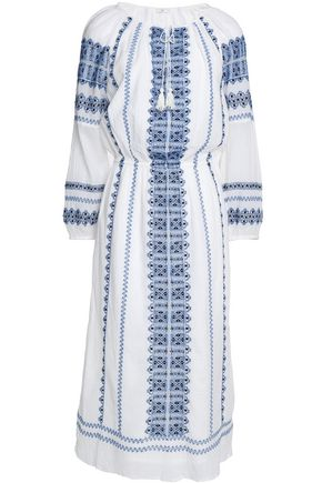 JOIE Tasseled embroidered cotton-gauze dress