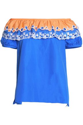 PETER PILOTTO Off-the-shoulder embroidered cotton-poplin top