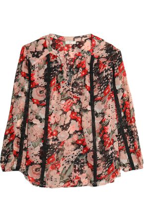 JOIE Lace-trimmed floral-print silk-georgette blouse