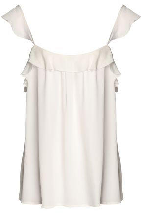 JOIE Frayed pleated ruffled silk-georgette top