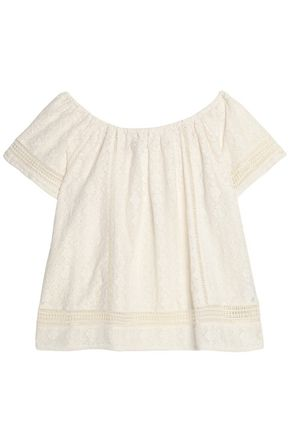 JOIE Off-the-shoulder cotton-blend lace top