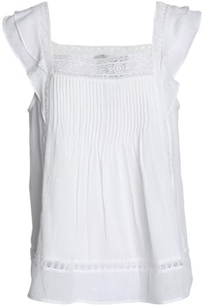 JOIE Crochet-trimmed pintucked cotton-gauze top