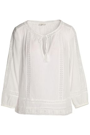 JOIE Corded lace-trimmed tasseled cotton-gauze blouse