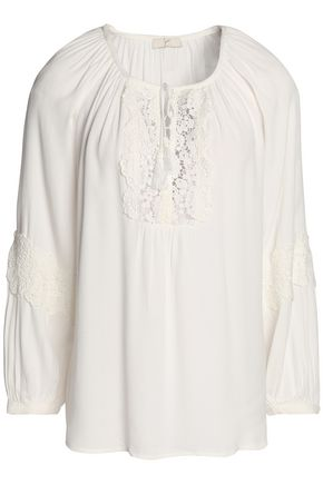 JOIE Lace-paneled gathered crepe de chine blouse