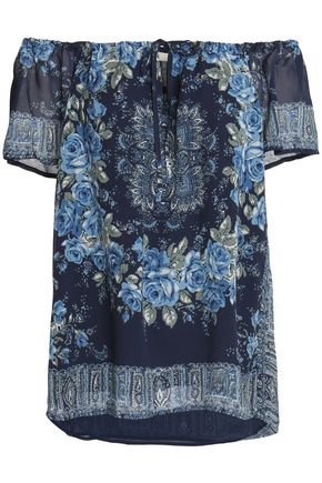 JOIE Off-the-shoulder printed silk crepe de chine top