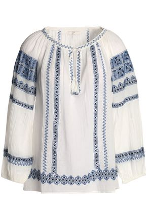 JOIE Tasseled embroidered cotton-gauze blouse