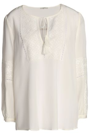 JOIE Tasseled, lace-paneled, and embroidered silk-georgette blouse
