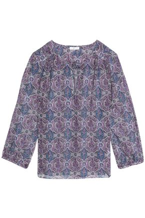 JOIE Printed silk-blend crepe de chine blouse