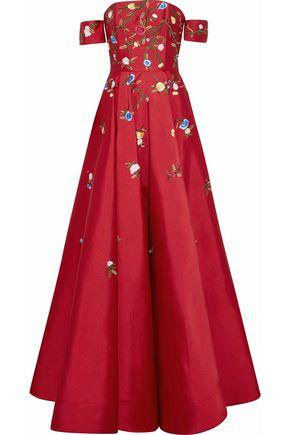 SACHIN & BABI Off-the-shoulder embroidered duchesse-satin gown