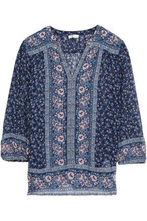 JOIE Paneled floral-print silk-georgette blouse