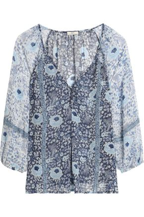 JOIE Paneled floral-print silk-georgette blouse