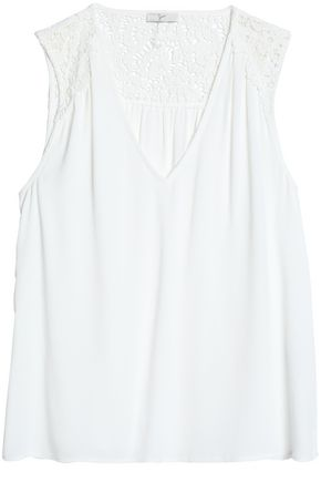 JOIE Crochet-paneled crepe de chine top