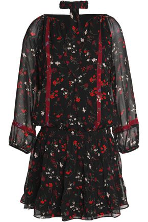 JOIE Pussy-bow floral-print silk-georgette mini dress