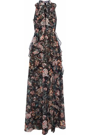 SACHIN & BABI Ruffled printed tulle gown