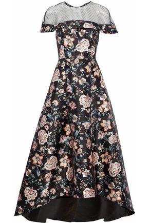 SACHIN & BABI Point d'esprit-paneled floral-print satin-faille gown