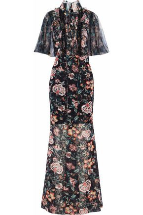 SACHIN & BABI Lattice-trimmed floral-print tulle gown