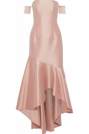 SACHIN & BABI Off-the-shoulder fluted satin gown