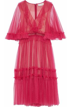 SACHIN & BABI Ruffle-trimmed embroidered point d'esprit tulle midi dress