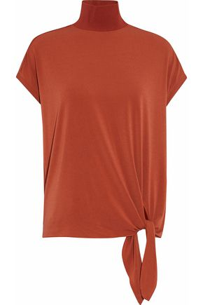 BY MALENE BIRGER Tie-front stretch-crepe turtleneck top