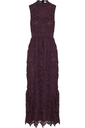 ANNA SUI Ruffle-trimmed guipure lace midi dress