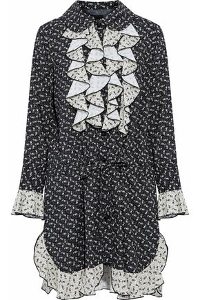 ANNA SUI Ruffled printed chiffon mini shirt dress