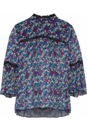 ANNA SUI Lace-trimmed printed silk-georgette blouse