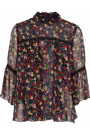 ANNA SUI Guipure lace-trimmed floral-print silk-georgette top