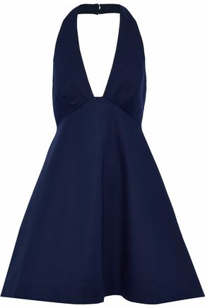 HALSTON HERITAGE Fluted stretch-cotton halterneck dress