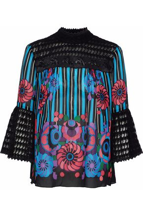 ANNA SUI Flocked tulle-paneled printed silk-chiffon top