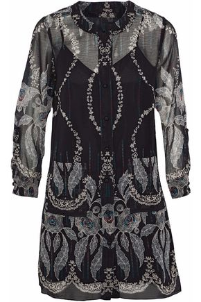 ANNA SUI Printed silk-georgette mini dress
