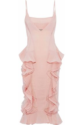 HERVÉ LÉGER Cutout ruffled silk-blend bandage and tulle dress