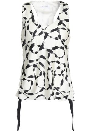 HELMUT LANG Ruched side-tie printed silk satin-twill top