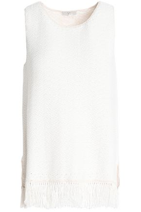 JOIE Fringe-trimmed knitted cotton-blend top