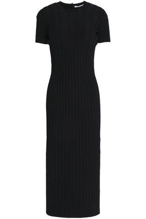 HELMUT LANG Cutout ribbed-knit stretch-jersey midi dress
