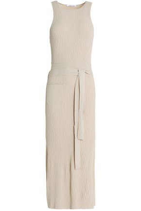 HELMUT LANG Ribbed-knit wrap-effect midi dress