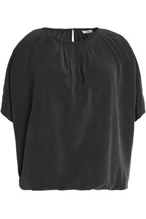 JOIE Cold-shoulder pleated silk crepe de chine top