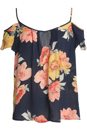 JOIE Cold-shoulder floral-print silk crepe de chine top