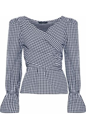 W118 by WALTER BAKER Ruffled gingham cotton-poplin wrap top